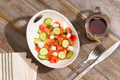Healthy country lunch of fresh feta salad Royalty Free Stock Photos