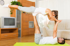 Healthy couple doing fitness stock images