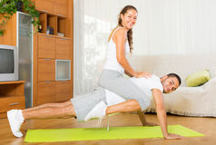 Healthy couple doing fitness Stock Photo