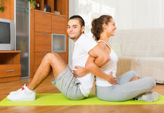 Healthy couple doing fitness Stock Image
