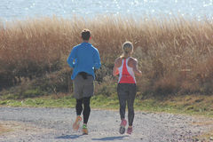 Healthy couple jogging around lake Royalty Free Stock Photo