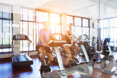 Healthy couple training on a treadmill Royalty Free Stock Photo