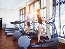 Healthy couple training on a treadmill Royalty Free Stock Image