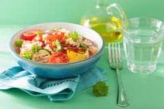 Healthy couscous salad with grilled tomato pepper zucchini onion Stock Images