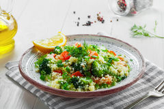 Healthy couscous salad with vegetables Royalty Free Stock Photos