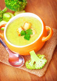 Healthy cream soup with broccoli Royalty Free Stock Photos