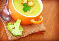 Healthy cream soup with broccoli Royalty Free Stock Photo