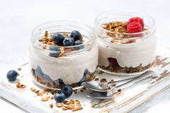 Healthy creamy dessert with berries, horizontal Royalty Free Stock Photos
