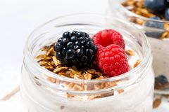 Healthy creamy dessert with berries in jars Royalty Free Stock Photography