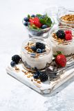 healthy creamy dessert with fresh berries, vertical top view Royalty Free Stock Photos
