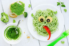 Healthy and creative baby food - green vegetables pasta for kids Royalty Free Stock Photography