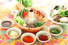 Healthy creative Thai hot pot with shrimp, mushroom, broccoli, o Royalty Free Stock Image