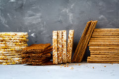 Healthy crisp bread. Stacks of various healthy crisp bread, diet, vitamin snack stock photography