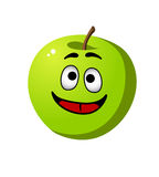 Healthy crisp green apple fruit. Happy healthy whole fresh crisp green apple fruit with a wide smile and red tongue, cartoon illustration isolated on white Stock Photos