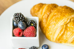 Healthy Croissant And Fruits Breakfast Royalty Free Stock Images