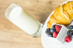 Healthy Croissant And Milk Breakfast Stock Photography