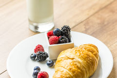 Healthy Croissant And Milk Breakfast Stock Photo