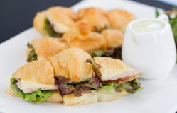 Healthy croissant sandwich. Closeup of healthy salad croissant sandwich resting Royalty Free Stock Photography