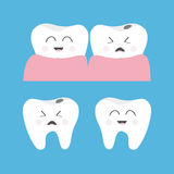 Healthy Crying bad ill smiling tooth gum icon. Cute character set. Oral dental hygiene. Children teeth care. Baby background. Flat Stock Photos