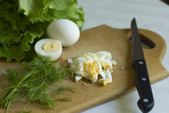 Healthy cuisine: chopped eggs and green fresh salad (lettuce) wi Royalty Free Stock Photography