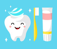 Healthy cute cartoon tooth character Stock Photos