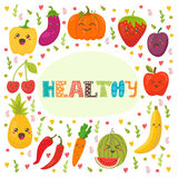 Healthy. Cute happy fruits and vegetables in vector. Stock Photography