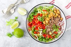 Healthy and delicious bowl with buckwheat and salad of chickpea, fresh pepper and lettuce leaves. Dietary balanced plant-based foo royalty free stock photos