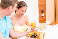 Healthy and delicious breakfast in bed Royalty Free Stock Image