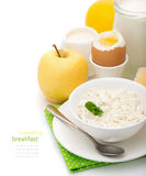 Healthy delicious breakfast of dairy products Royalty Free Stock Photos