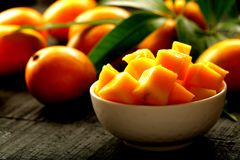Delicious sliced sweet mangoes. Royalty Free Stock Photos