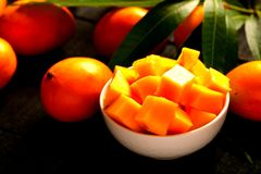 Delicious sliced sweet mangoes. Royalty Free Stock Images