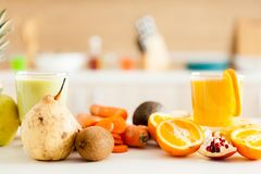 Healthy and delicious organic juice. At the kitchen royalty free stock photo