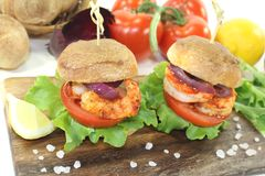 Healthy delicious prawn burgers Royalty Free Stock Images