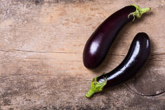 Healthy and delicious purple eggplants Stock Images