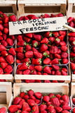 Strawberries on Display at an Italian Market. Healthy and delicious strawberries on sale at an Italina market Stock Photos