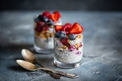 Healthy dessert with chia seeds, blueberries, strawberries, raspberries and granola. Horizontal stock images