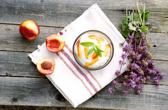 Healthy dessert. With cream and nectarines Stock Photos