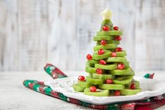 Healthy dessert idea for kids party - funny edible kiwi pomegranate Christmas tree Royalty Free Stock Photography