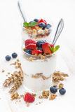 Healthy dessert with natural yogurt, muesli and berries Royalty Free Stock Photo
