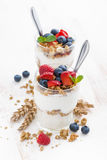 Healthy dessert with natural yogurt, muesli and berries Stock Photo