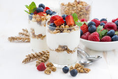 Healthy dessert with natural yogurt, muesli and berries Royalty Free Stock Photography