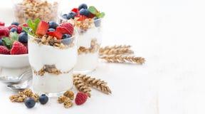 Healthy dessert with natural yogurt, muesli and berries Royalty Free Stock Photo