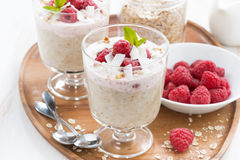 Healthy dessert with oatmeal, whipped cream and raspberries Stock Photos