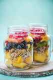 Healthy detox brunch in mason jar Royalty Free Stock Image