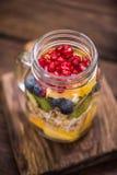 Healthy detox brunch in mason jar Stock Image
