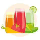 Healthy detox cocktails. Healthy detox drinks with different ingredients on a decorative round background Royalty Free Stock Photos