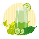Healthy detox drink. With fresh cucumber on a decorative background Stock Photos