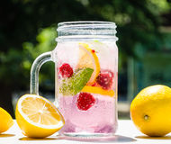 Healthy detox water served in a mason jar with ice lemon raspberries mint leaf bubbles and surrounded with green nature and trees. Into the background stock photography