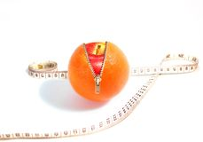 Healthy diet. Three dimensional illustration of unzipped orange revealing apple, with tape measure. Isolated on white background Royalty Free Stock Photo