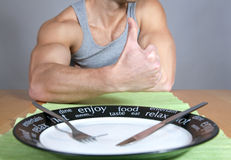 Healthy diet. Thumbs up for a healthy diet Stock Image